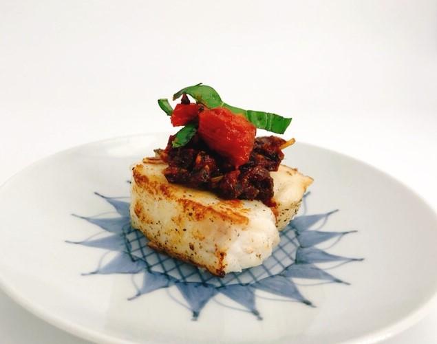 ブルスケッタソースと白身魚