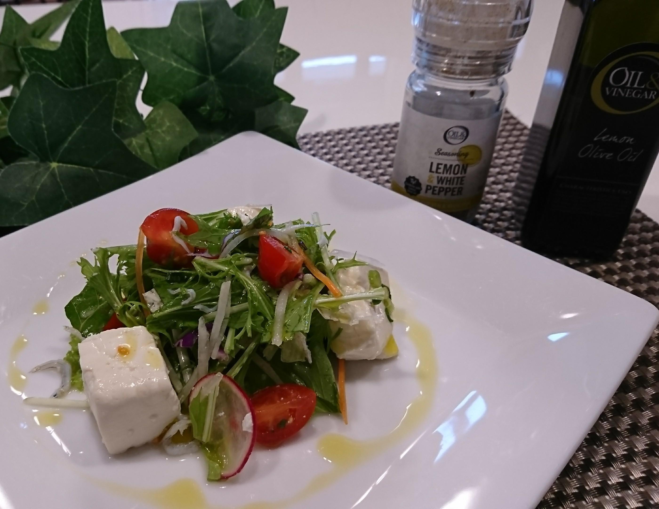 シラスと水菜の豆腐サラダ