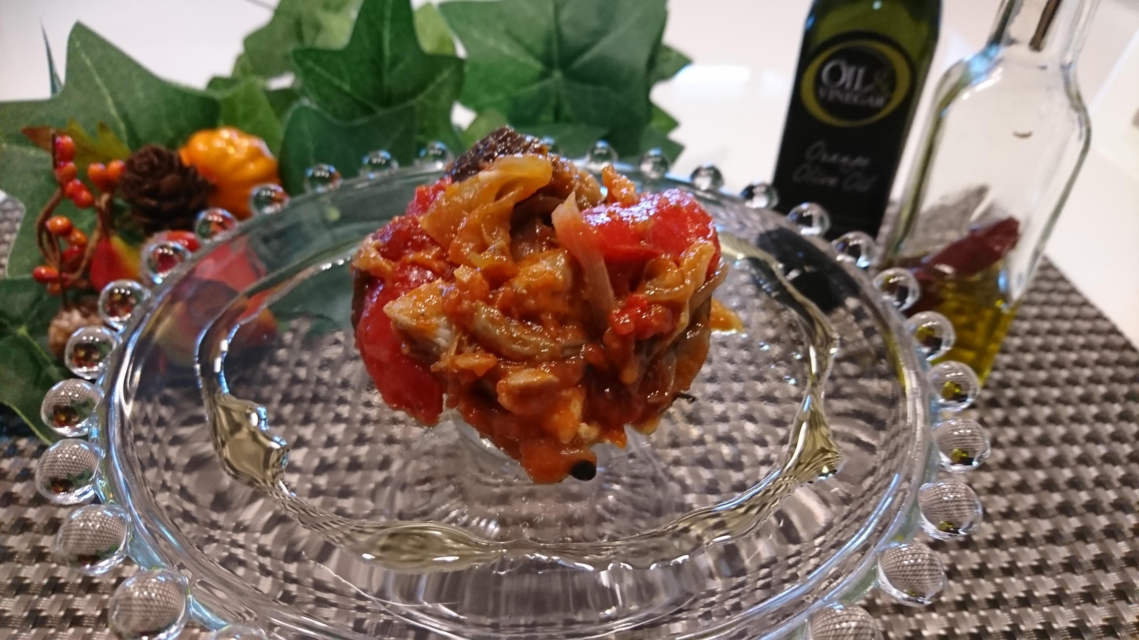 ナスとチキンのトマト煮込み