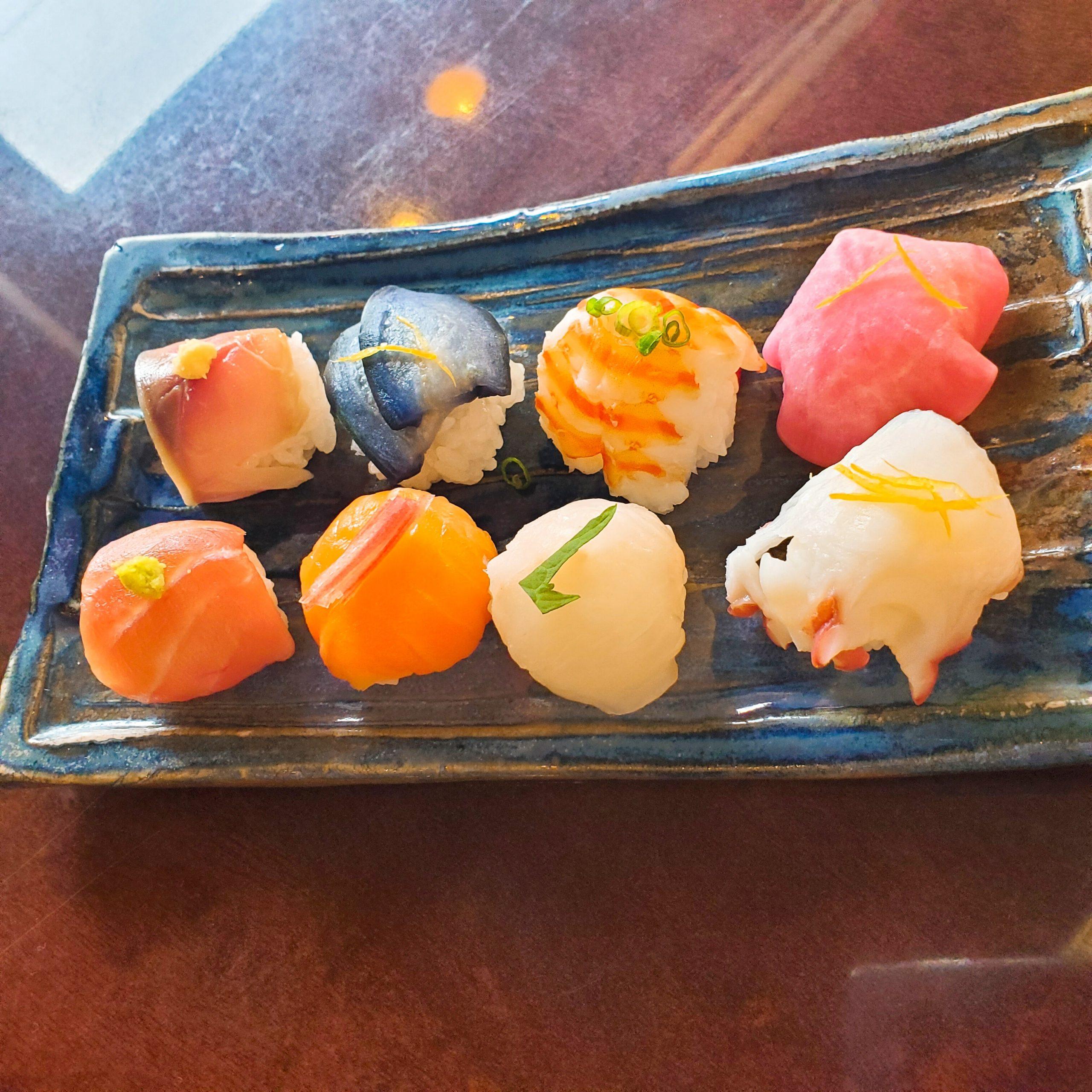オリーブオイルとビネガーで食べる手まり寿司