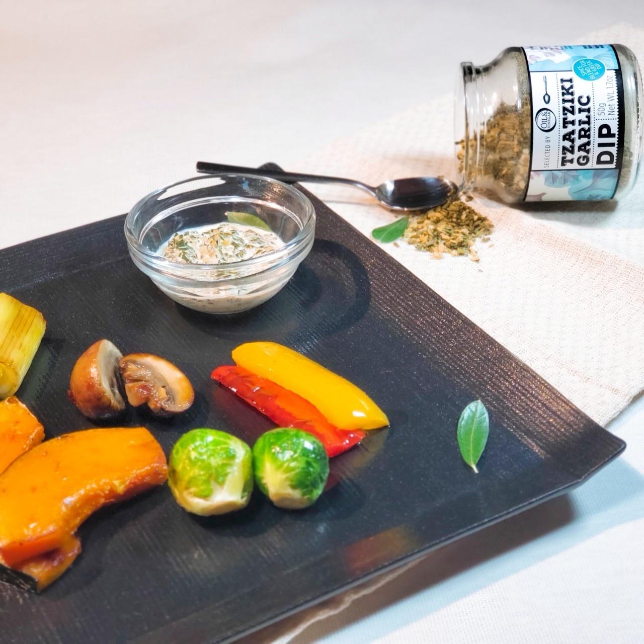 ザジキソースで食べるグリル野菜